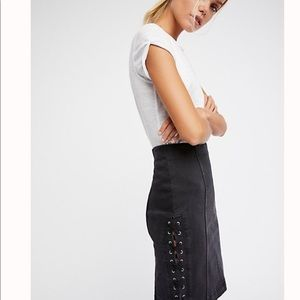 Free People Denim Lace Up Skirt-6